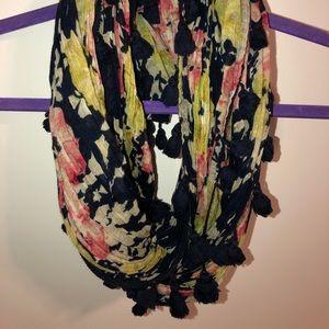 American Eagle floral Pom Pom scarf